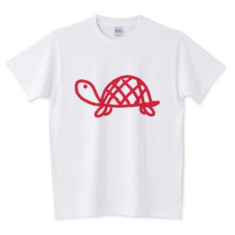 赤いリボンの亀Tシャツ