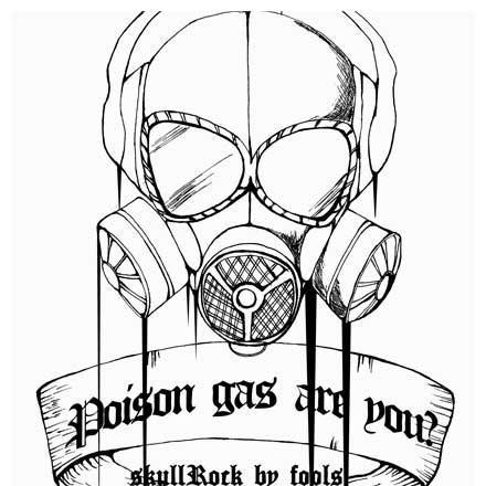 手描きのガスマスクロックGペン画のクールなデザイン