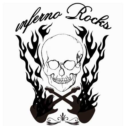 インフェルノロックギターTシャツ濃色/淡色