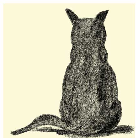 cat#1ねこの後ろ姿のラフ画の可愛い両面プリントTシャツ