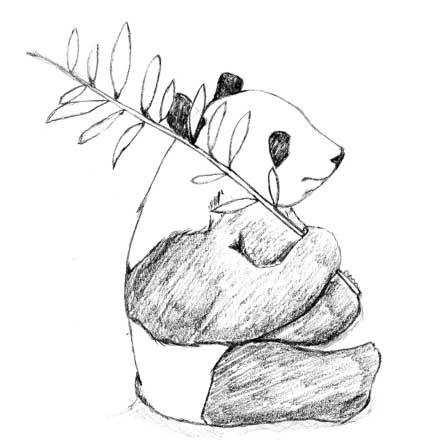 ラフな鉛筆で描いたアートなパンダのイラストTシャツ