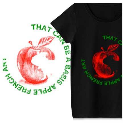 フレンチブルドッグとリンゴのアートなTシャツ