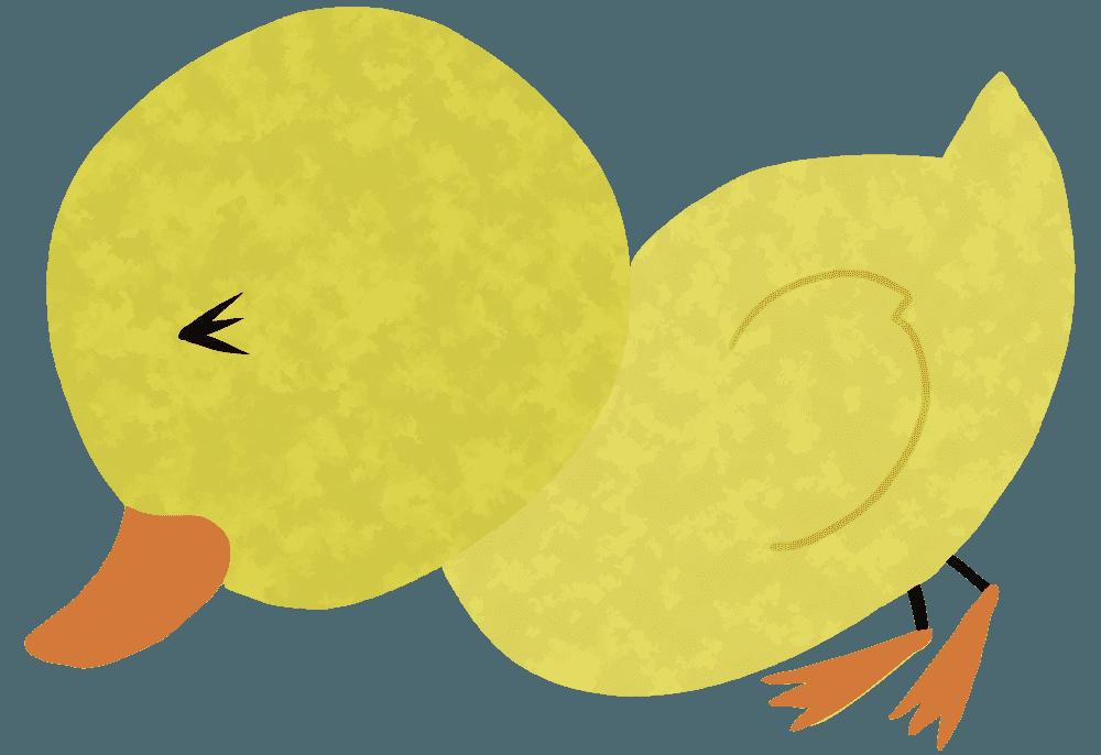 転ぶアヒルの赤ちゃんイラスト