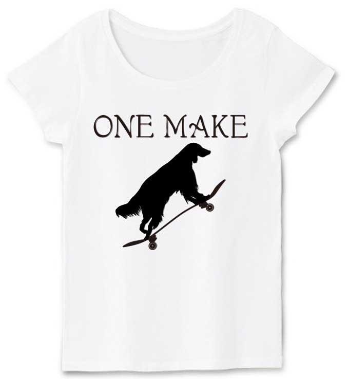 one makeスケボーとアイリッシュセッターTシャツ