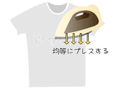 Tシャツをアイロンでプレスする