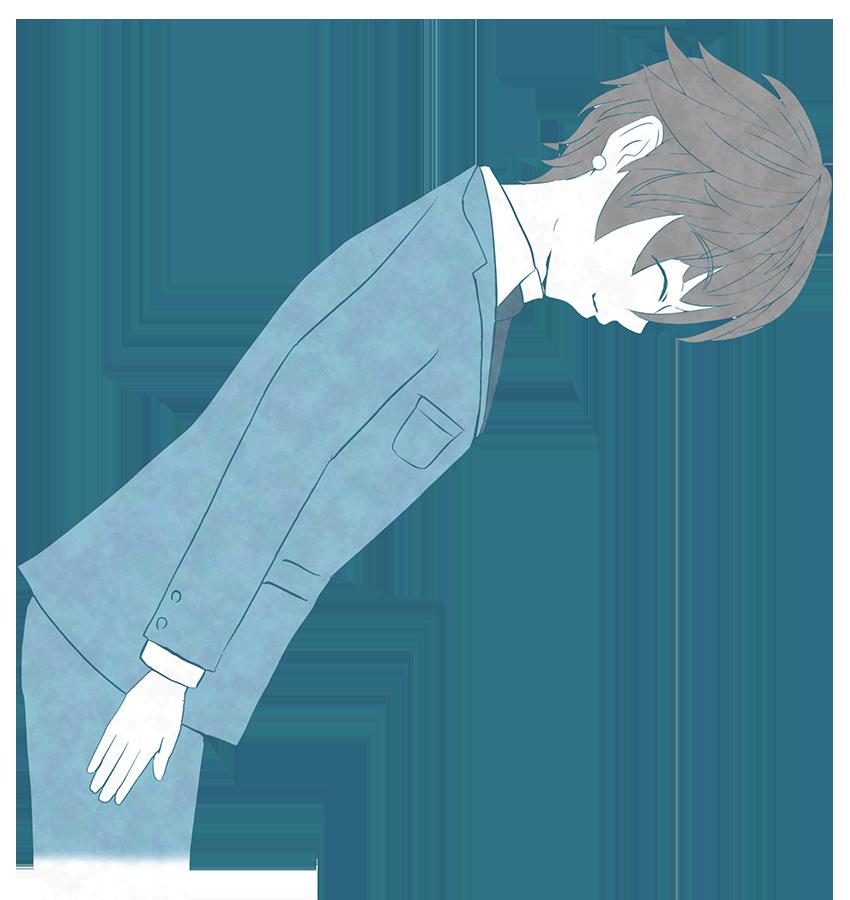 挨拶・礼する人スーツの男性のイラスト