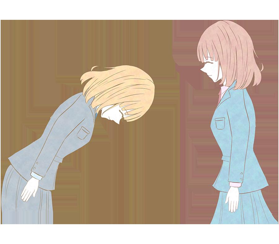 女性社員の挨拶のイラスト