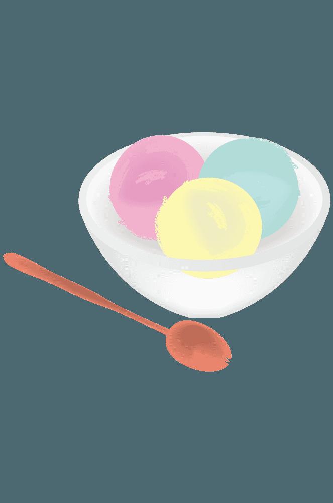 三色のカップに入ったアイスクリーム