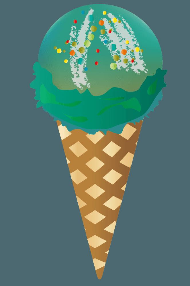 ソーダーとカラフルなチップのアイスクリーム