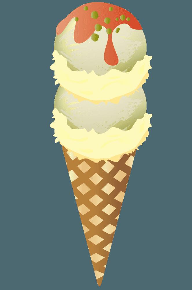 バニラとオレンジソースのダブルアイス