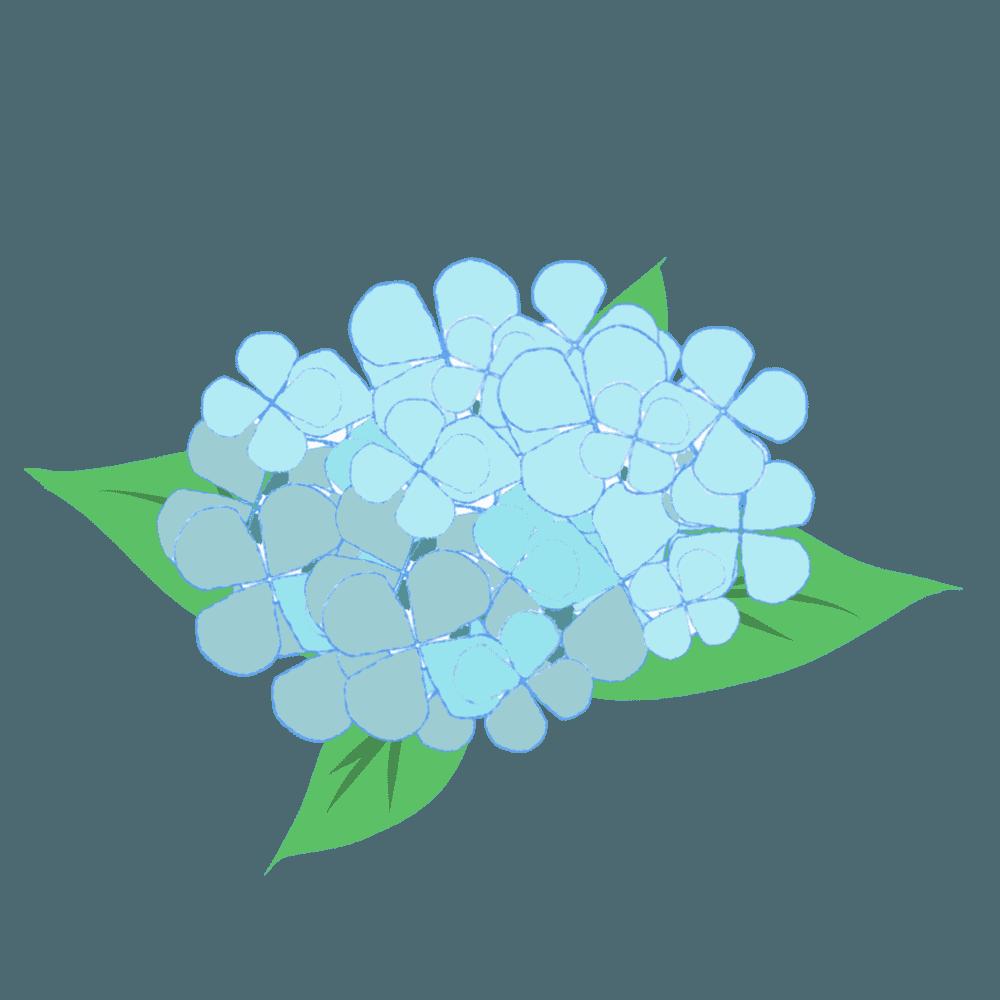 青い可愛いあじさいイラスト
