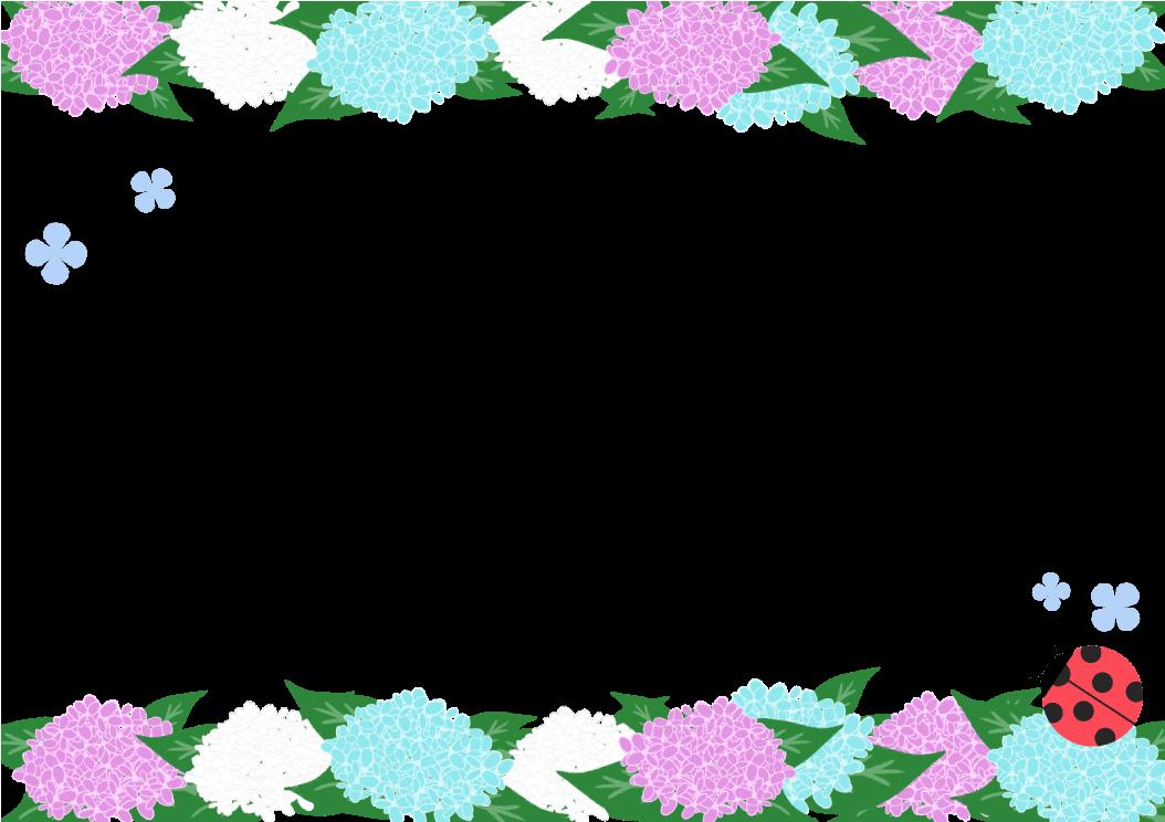 あじさいフレーム(背景なし1054×744)