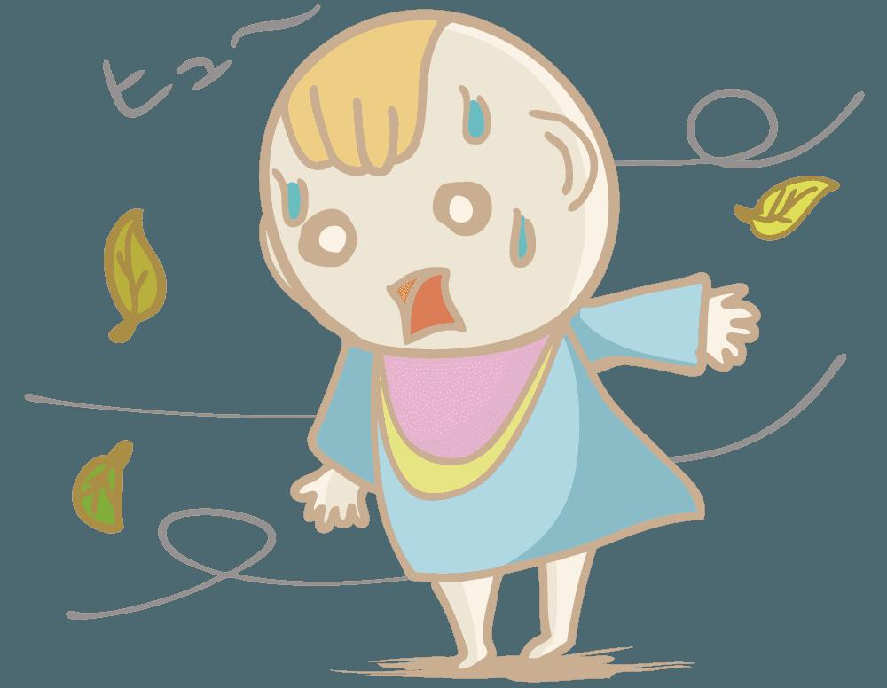ショックを受ける赤ちゃんのイラスト