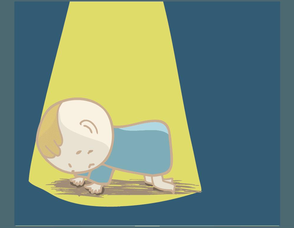 寂しそうな赤ちゃんのイラスト