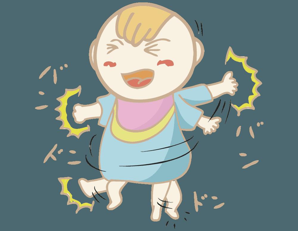 駄々をこねる赤ちゃんのイラスト