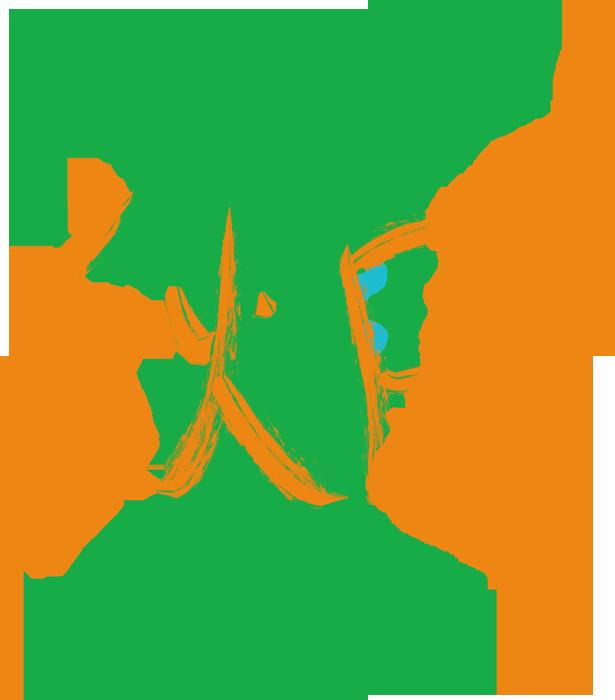 秋田の墨文字と大陸のイラスト