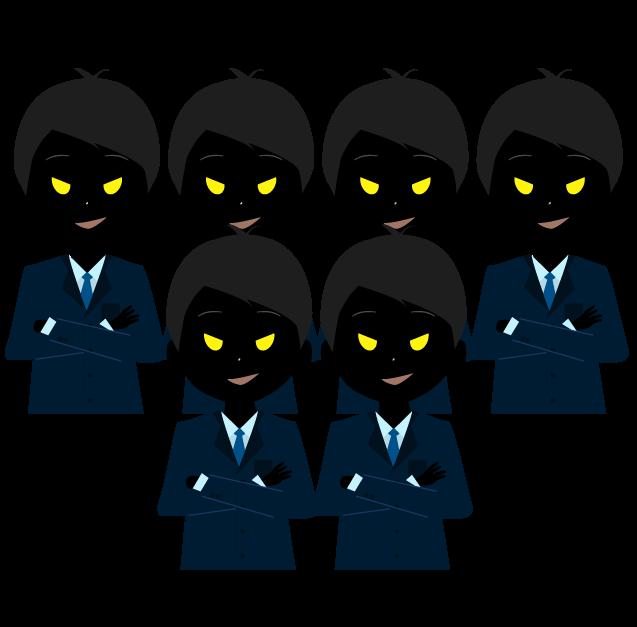 悪人の集団のイラスト