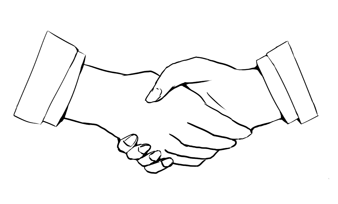 握手のイラスト(線画)
