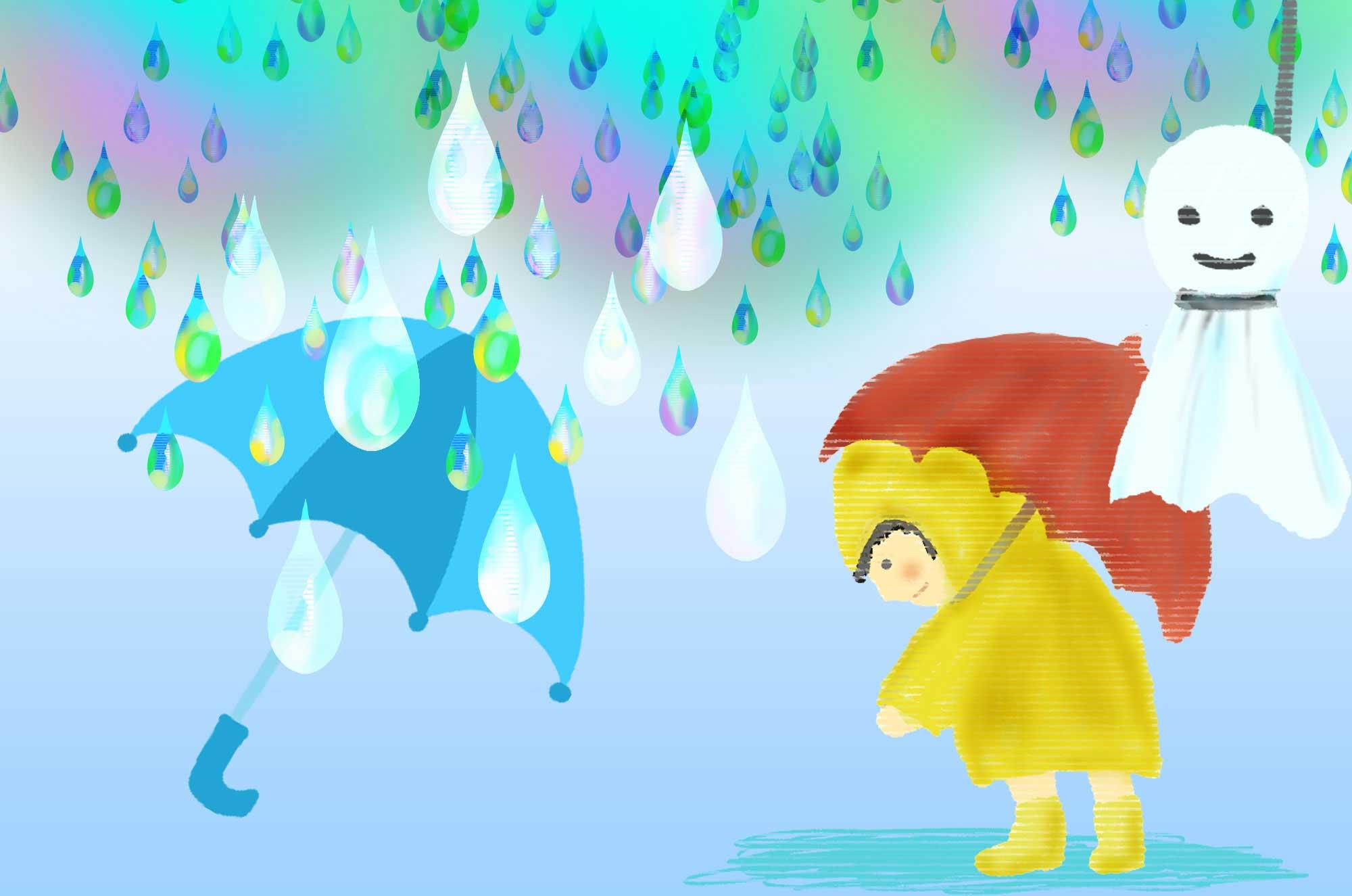 雨イラスト - てるてる坊主・傘・長靴の素材集