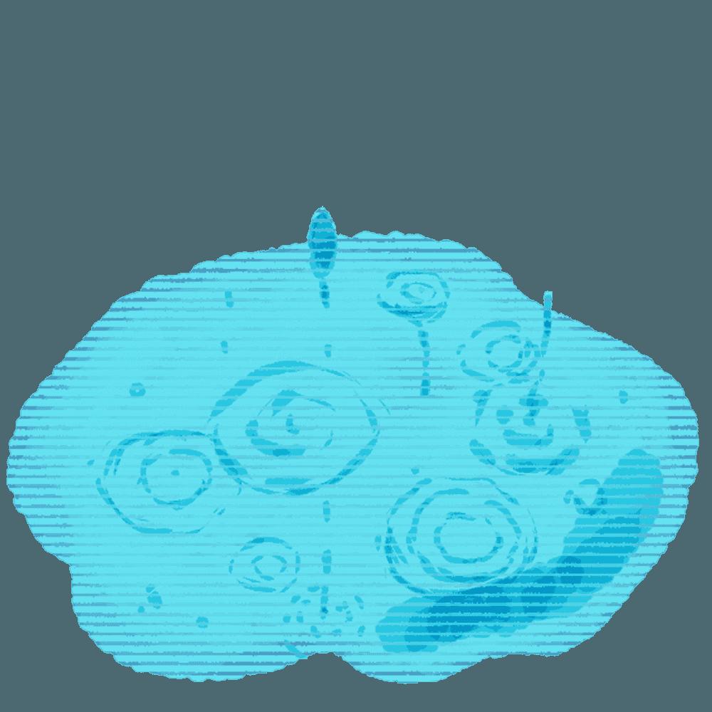 水たまりと雨のイラスト