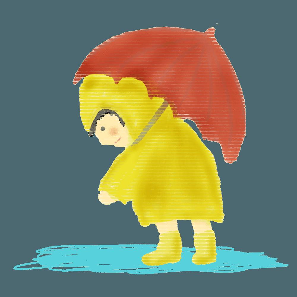 雨と傘をさして長靴を履く男の子イラスト
