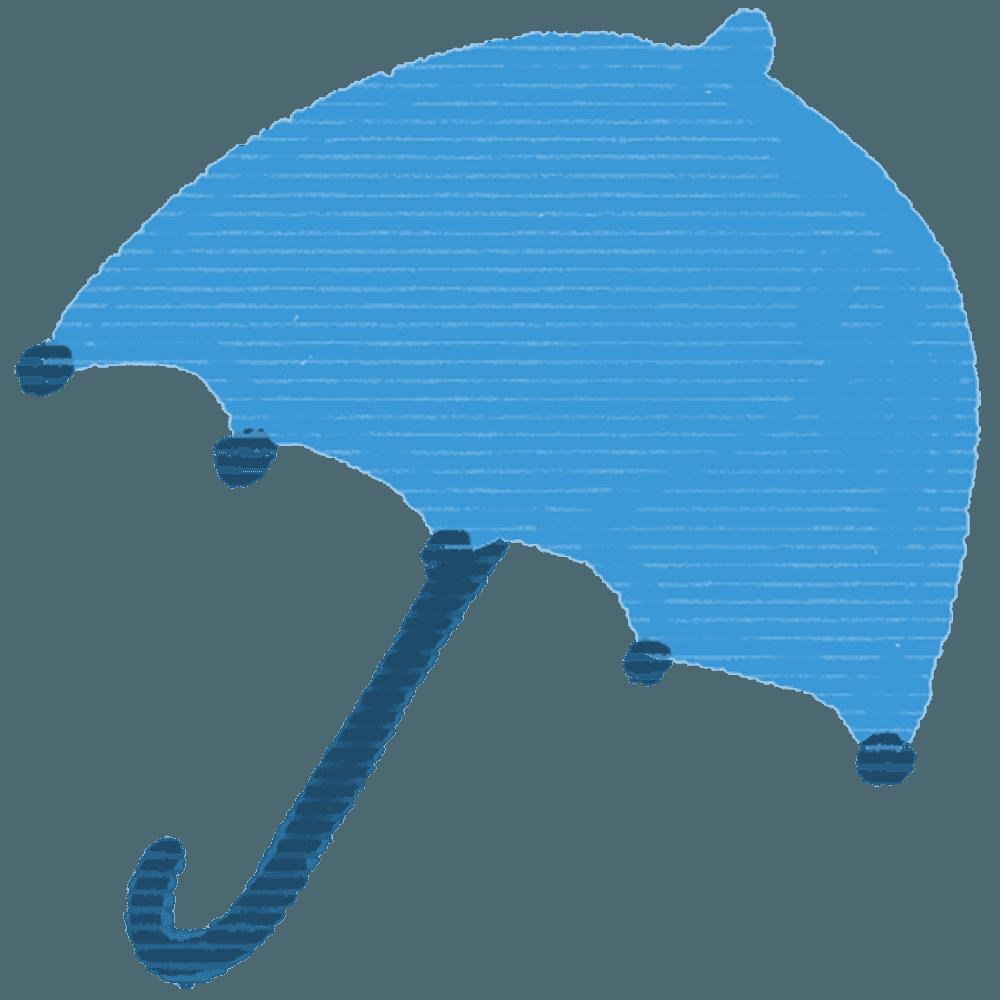 可愛い青色い傘イラスト