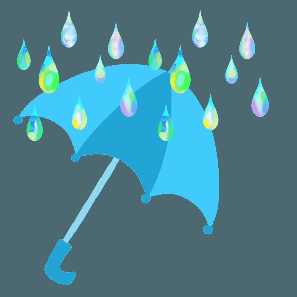 綺麗な雨と傘イラスト