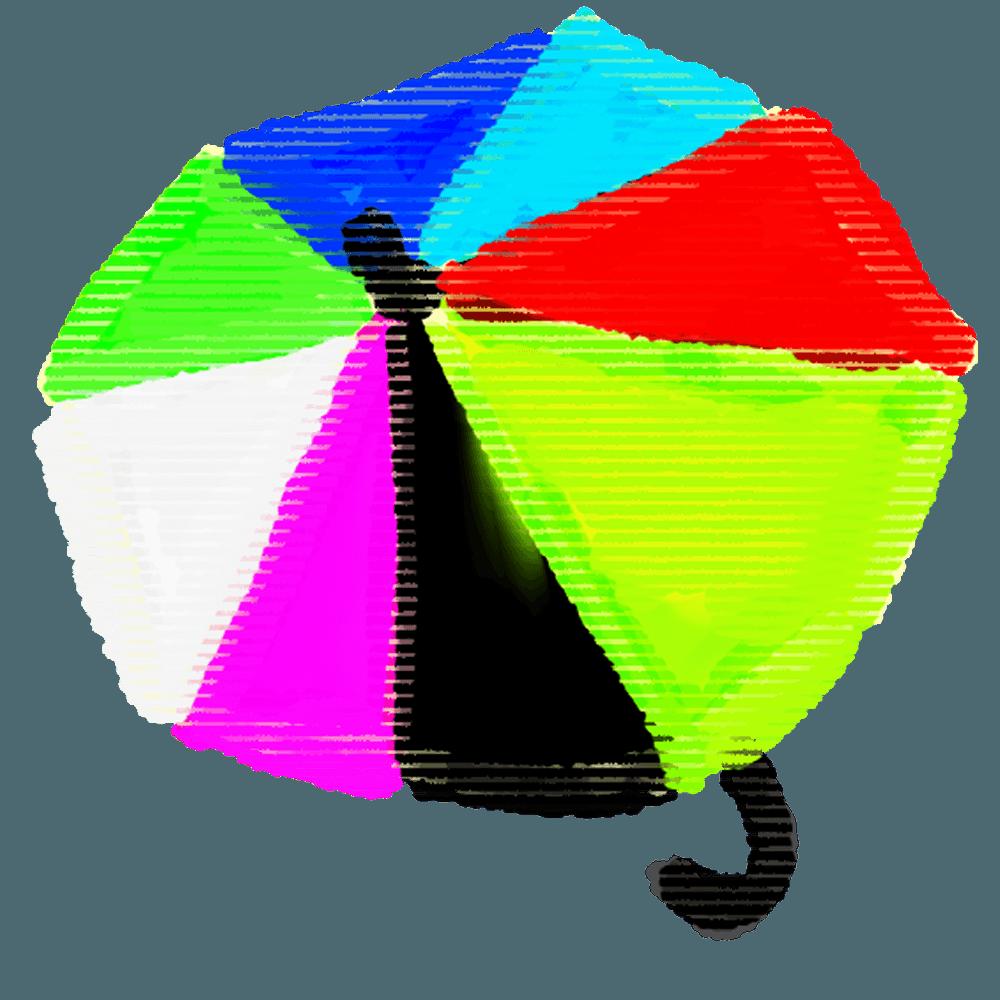クレヨンで描いたカラフル傘のイラスト