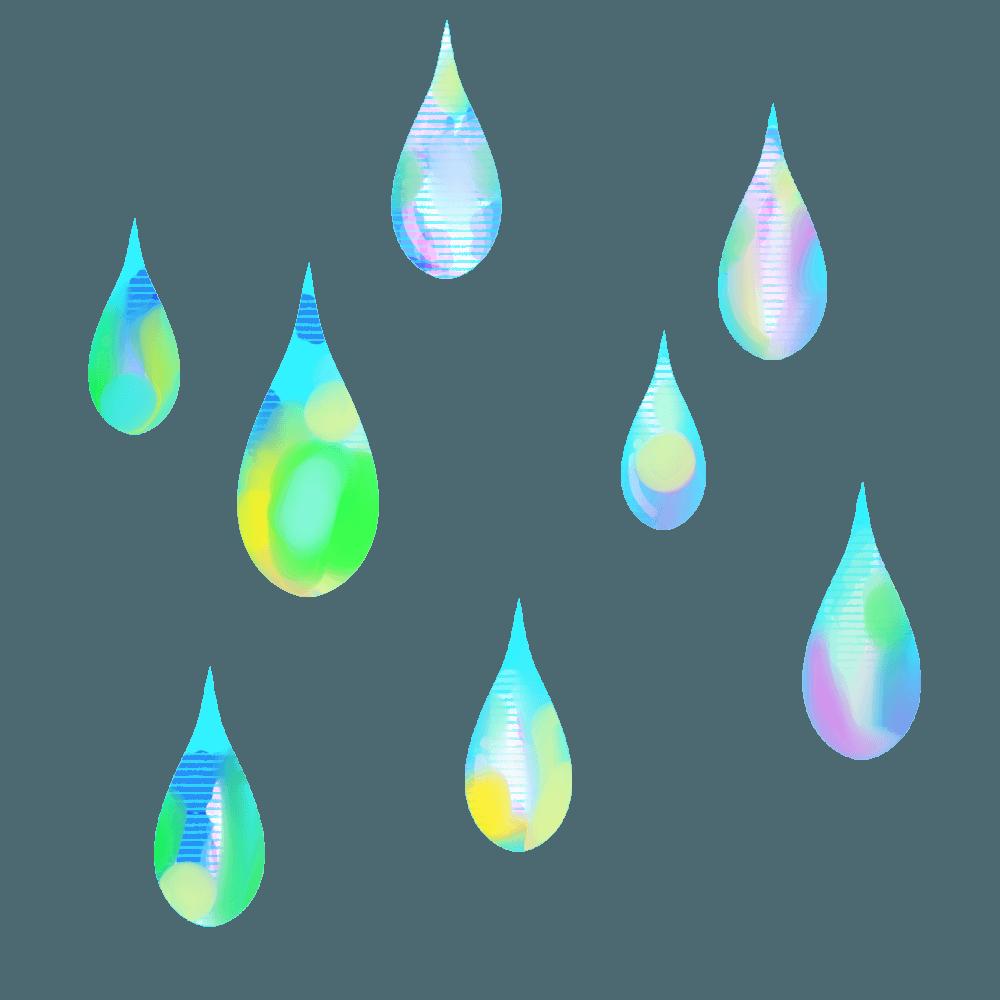 七色の不思議な雨イラスト