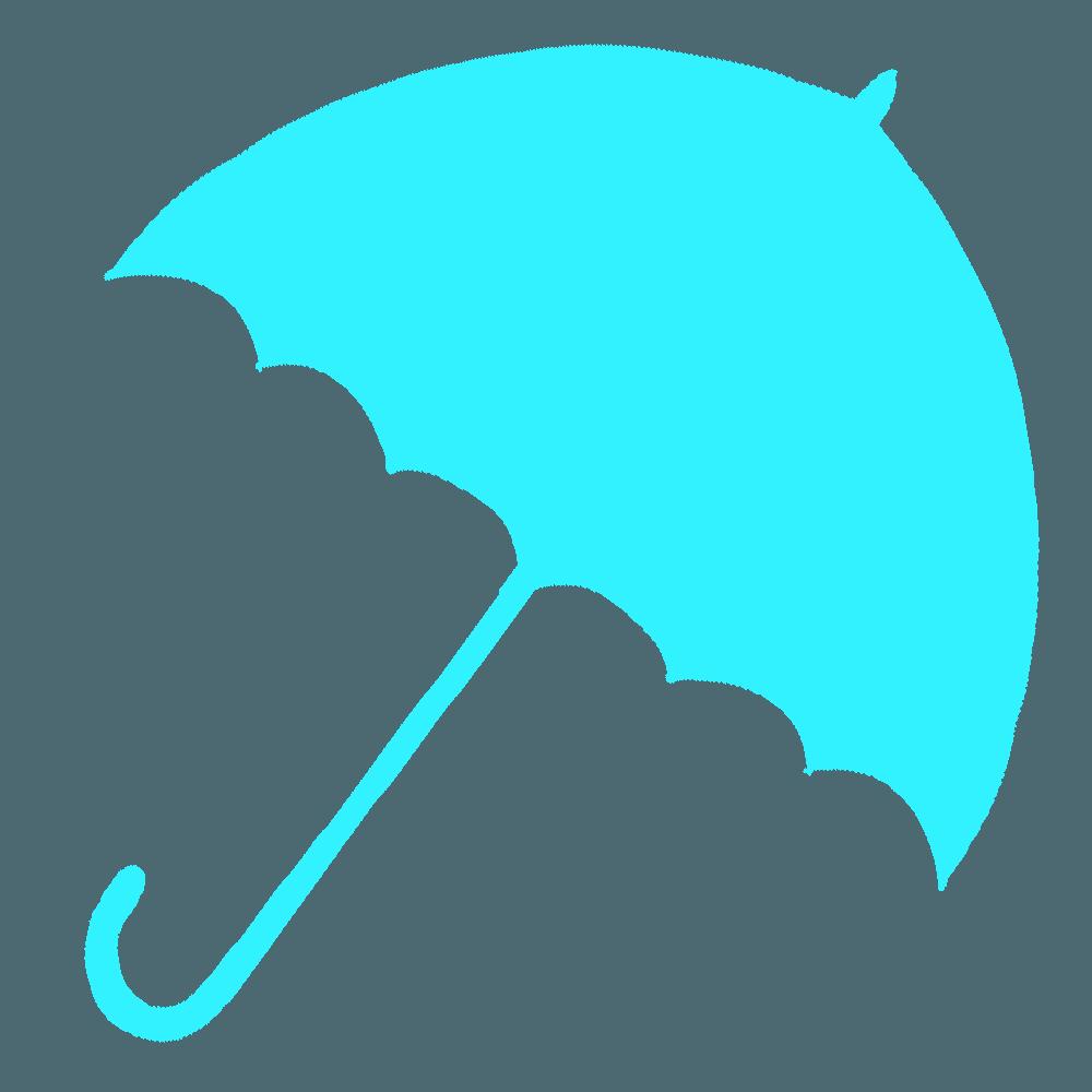 水色の傘のシルエット