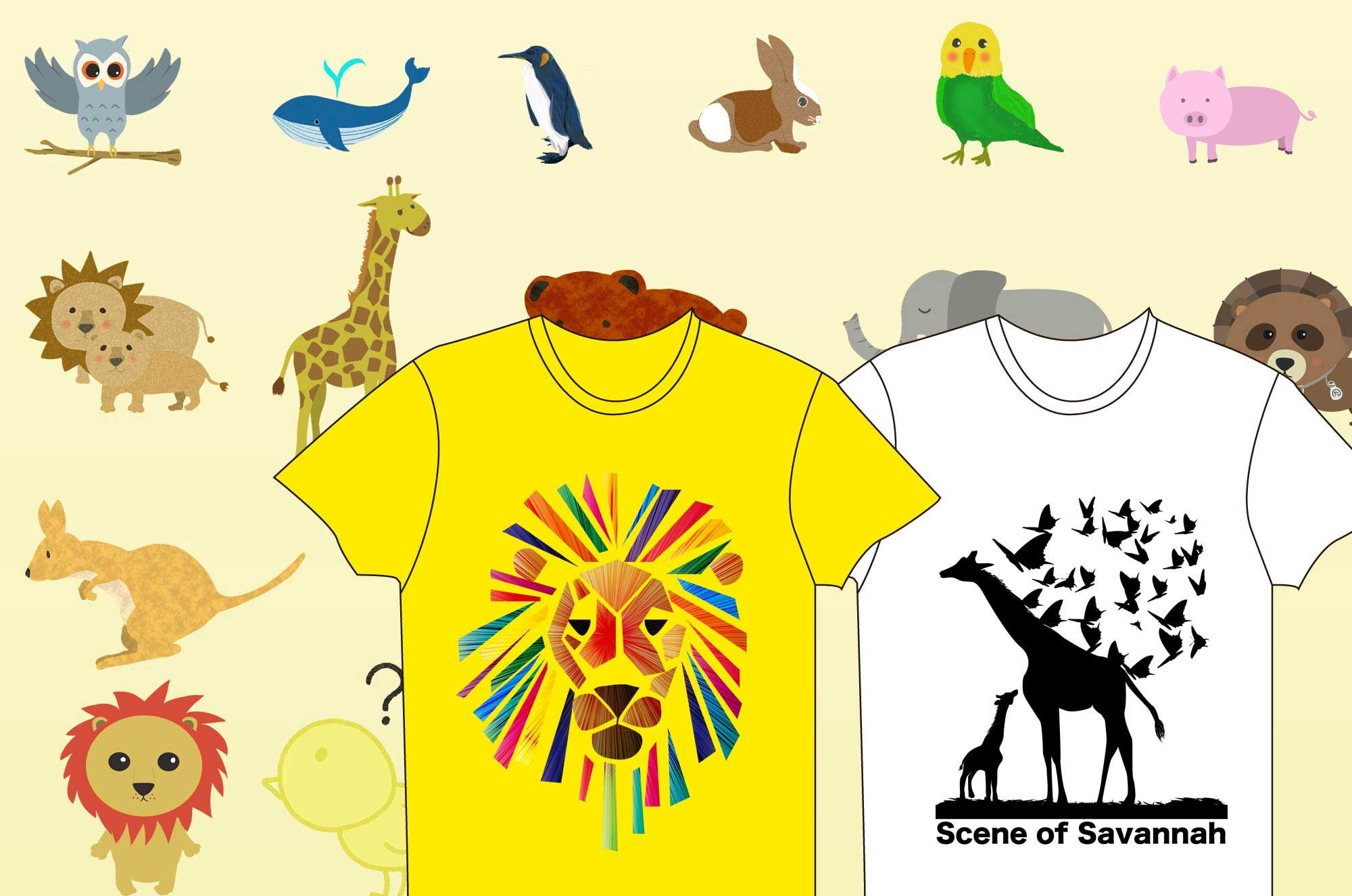 可愛い動物Tシャツ - ラフなイラストのデザイングッズ