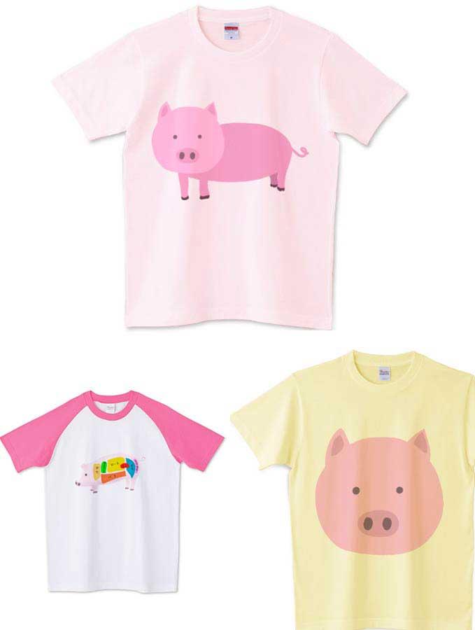 動物豚Tシャツ