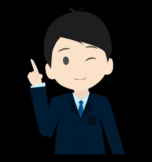 指差しビジネスマン(右)のイラスト