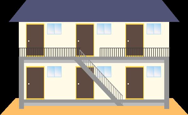 アパートのイラスト(正面)