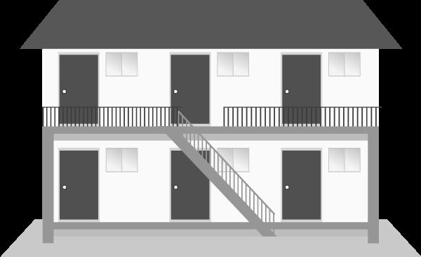 アパートのイラスト(正面白黒)