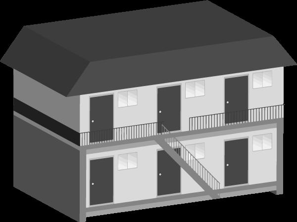アパートのイラスト(斜め白黒)
