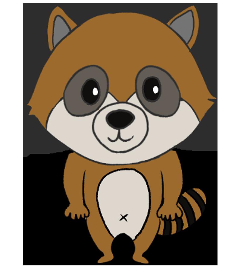 ライグマの可愛いキャラクターイラスト