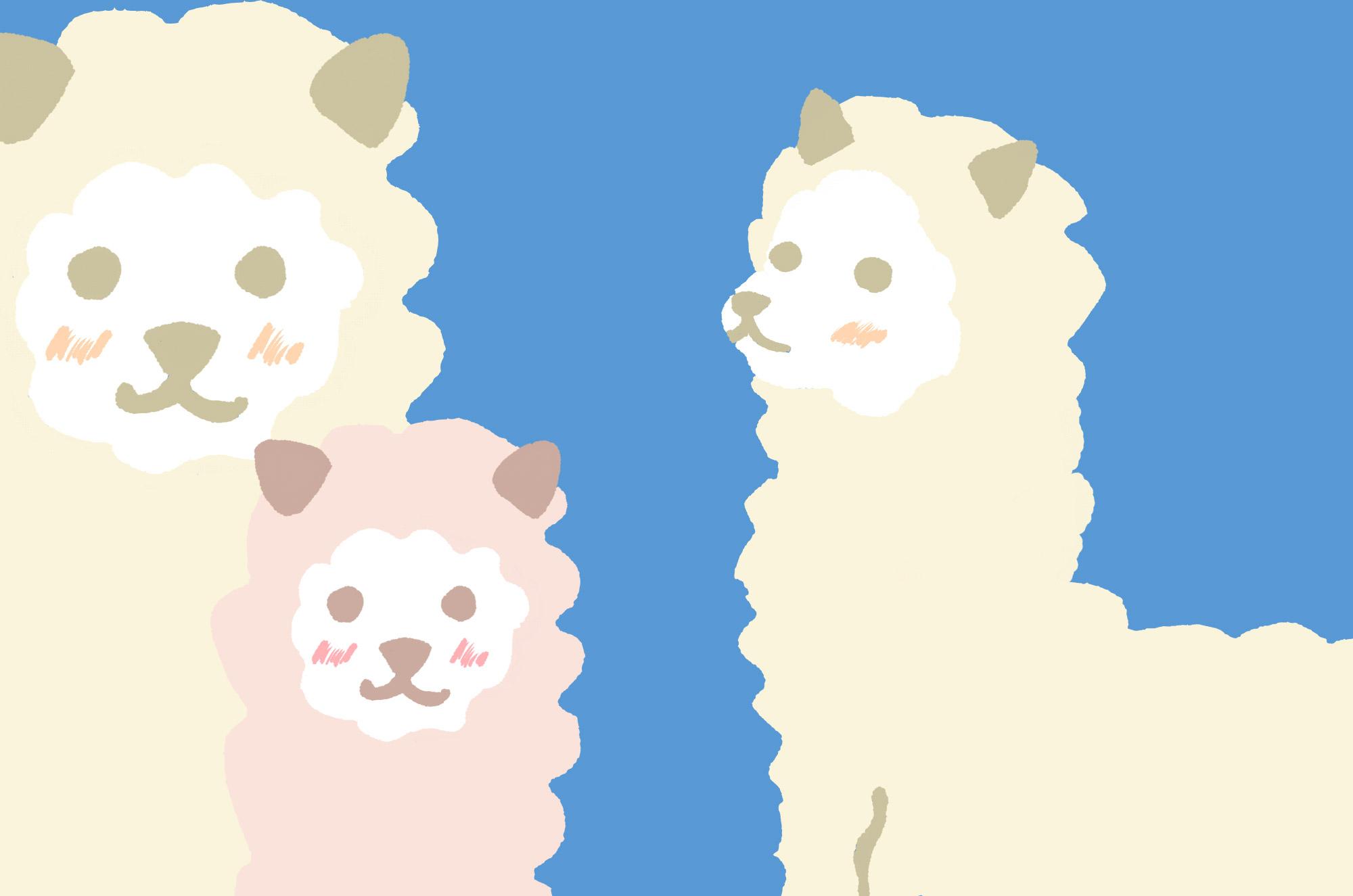 可愛いアルパカのイラスト - もふもふ可愛いキャラクター - チコデザ