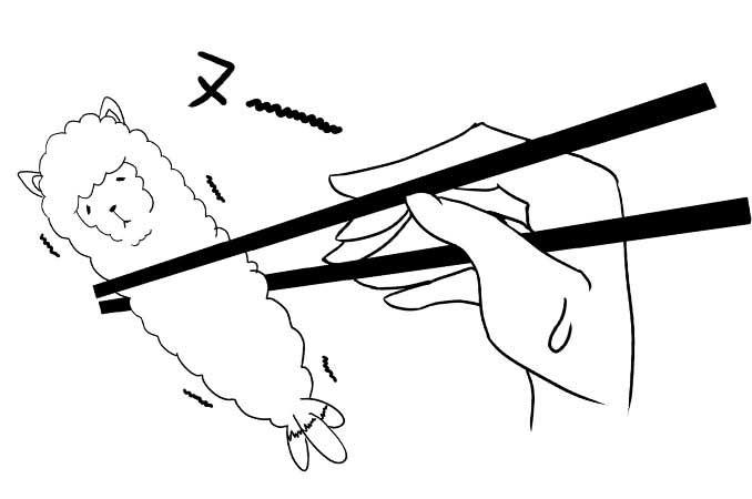 ぬ〜と鳴くアルパカを箸でつかむイラスト