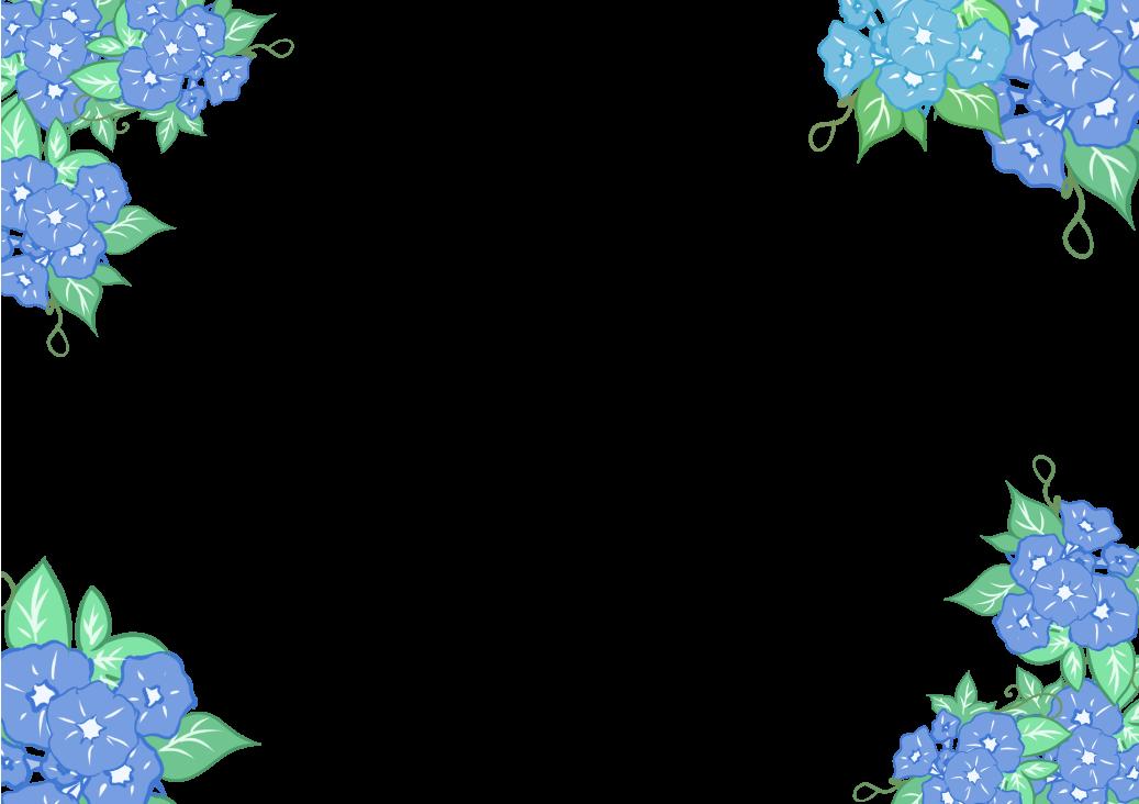 朝顔フレームのイラスト四角(透過)
