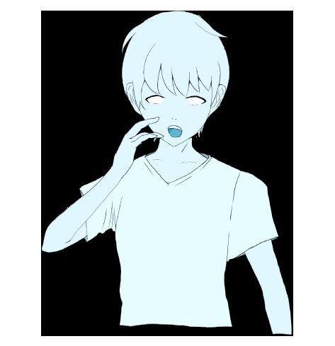 真っ青な男の子