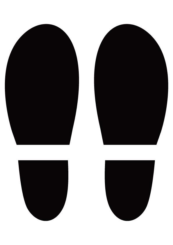 黒い靴の足跡のイラスト