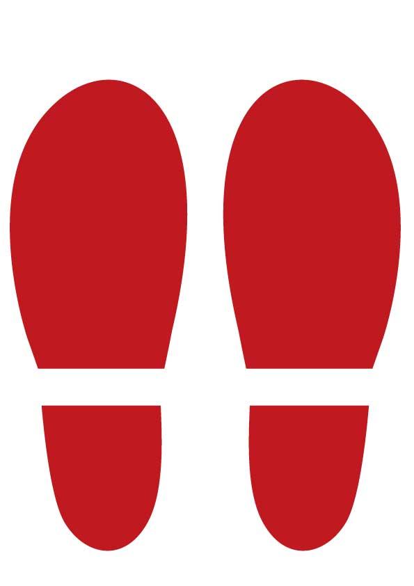赤い靴の足跡のイラスト