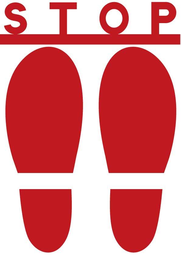 赤い靴の足跡とストップの文字イラスト