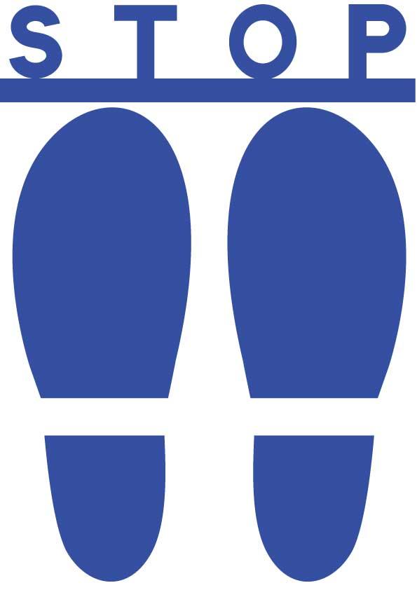 青い靴の足跡とストップの文字イラスト