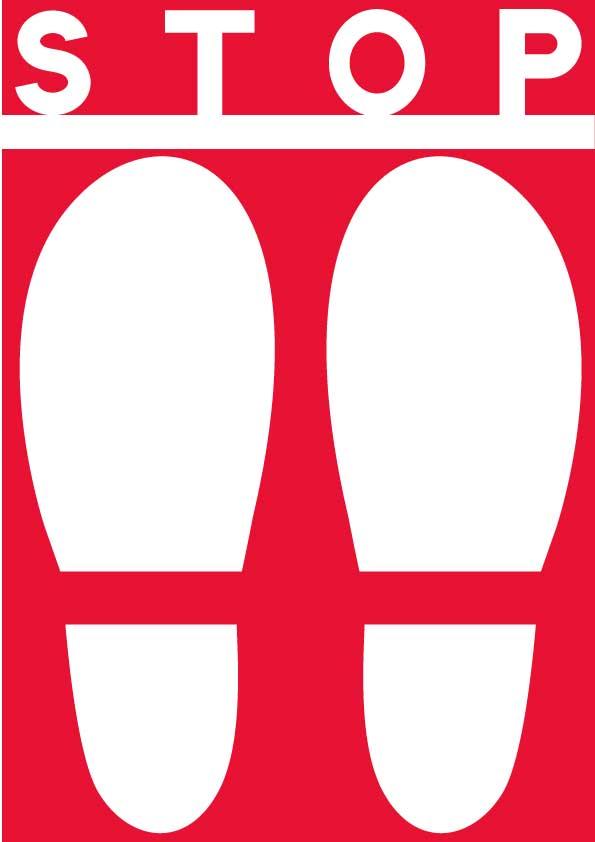 赤い靴の足跡のイラスト背景赤でストップの文字