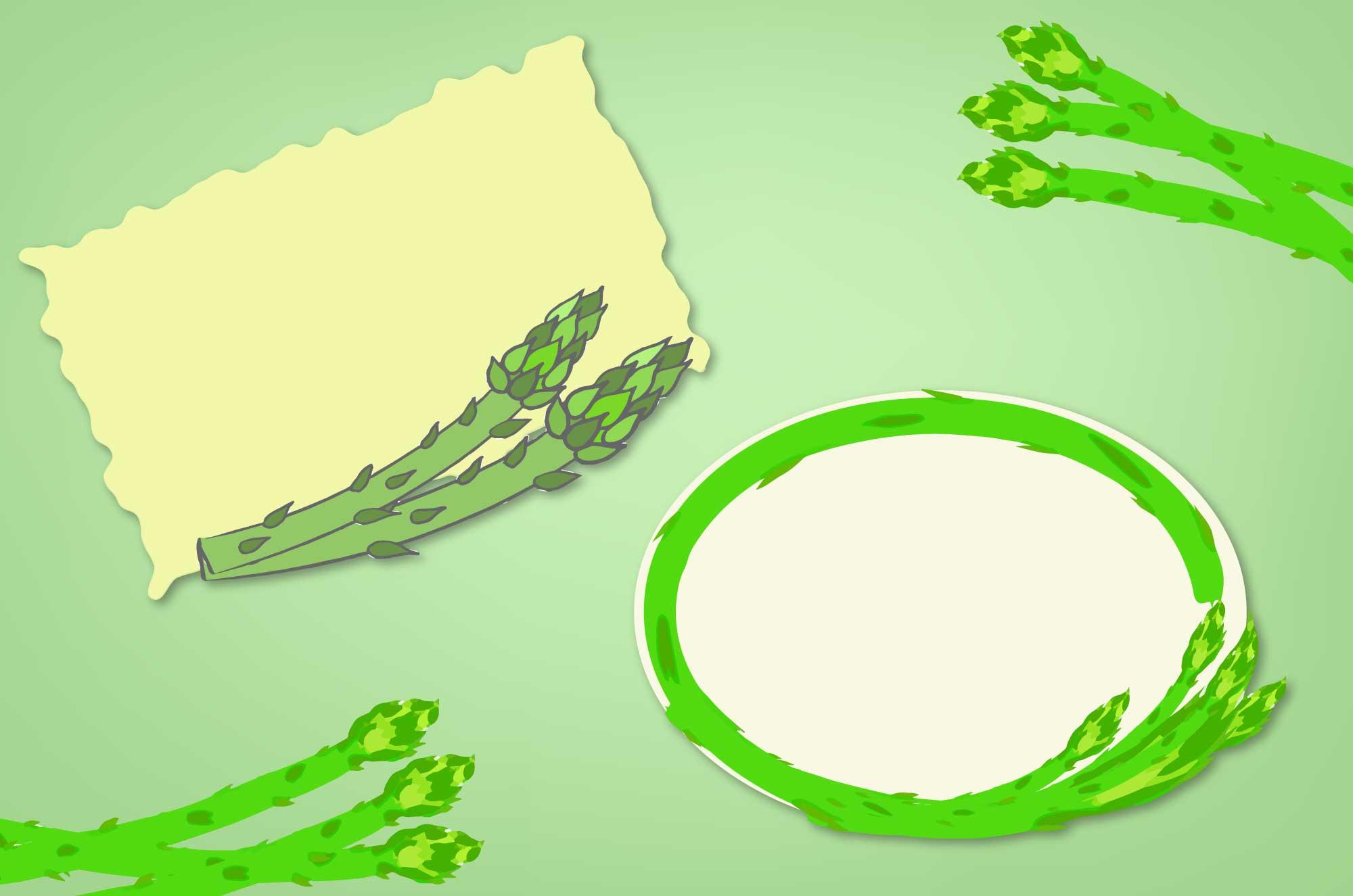 アスパラのフレーム - 楕円・四角の可愛い野菜枠素材