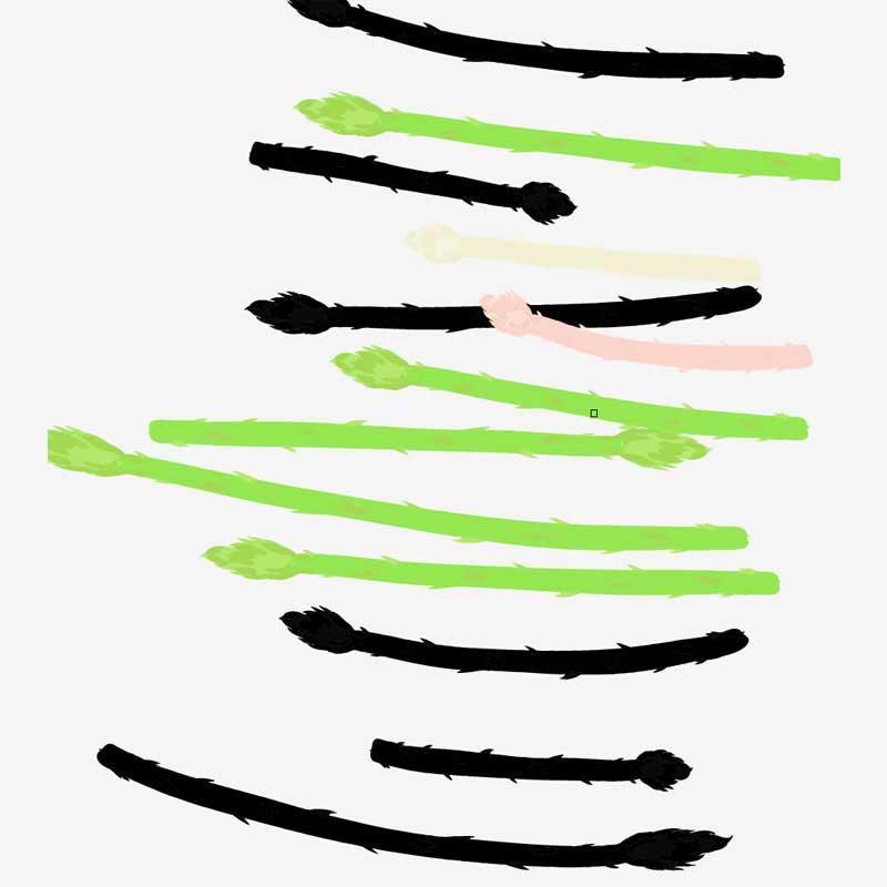 アスパラアートブラシ描画例
