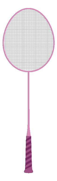 ピンクのバドミントンラケットのイラスト