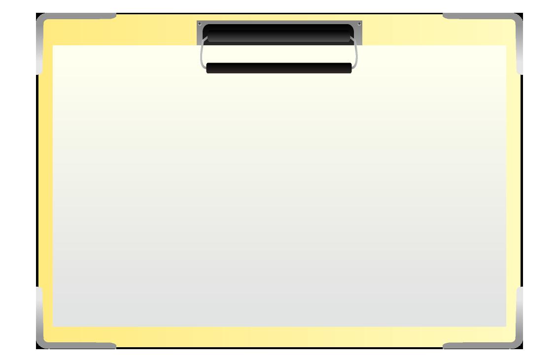 紙を挟んだバインダーのイラスト(横)
